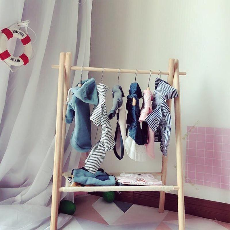 【送料無料】お洋服ラック 赤ちゃん用にも インスタ映え パールハンガー2本セット付