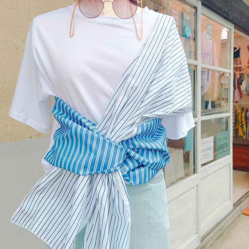 ストライプデザインリボンTシャツ
