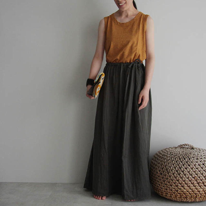 organic cotton long skirt charcoal gray