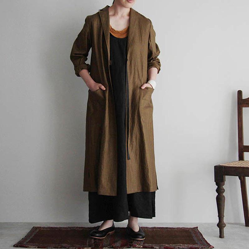Tabrik coating linen coat khaki