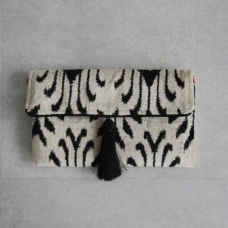 silk velvet clutch bag white