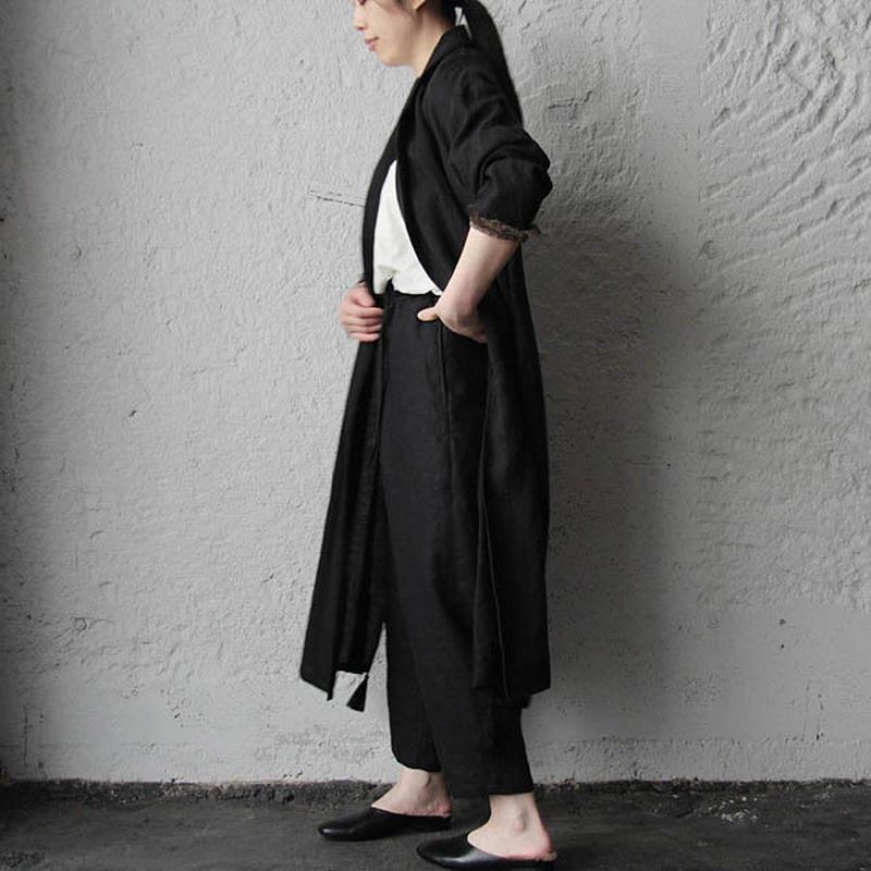 Tabrik linen robe (black)