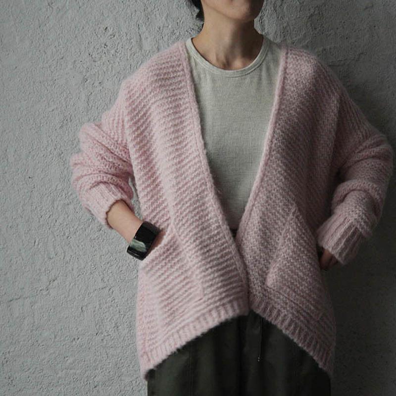 MAISON ANJE knit cardigan pink