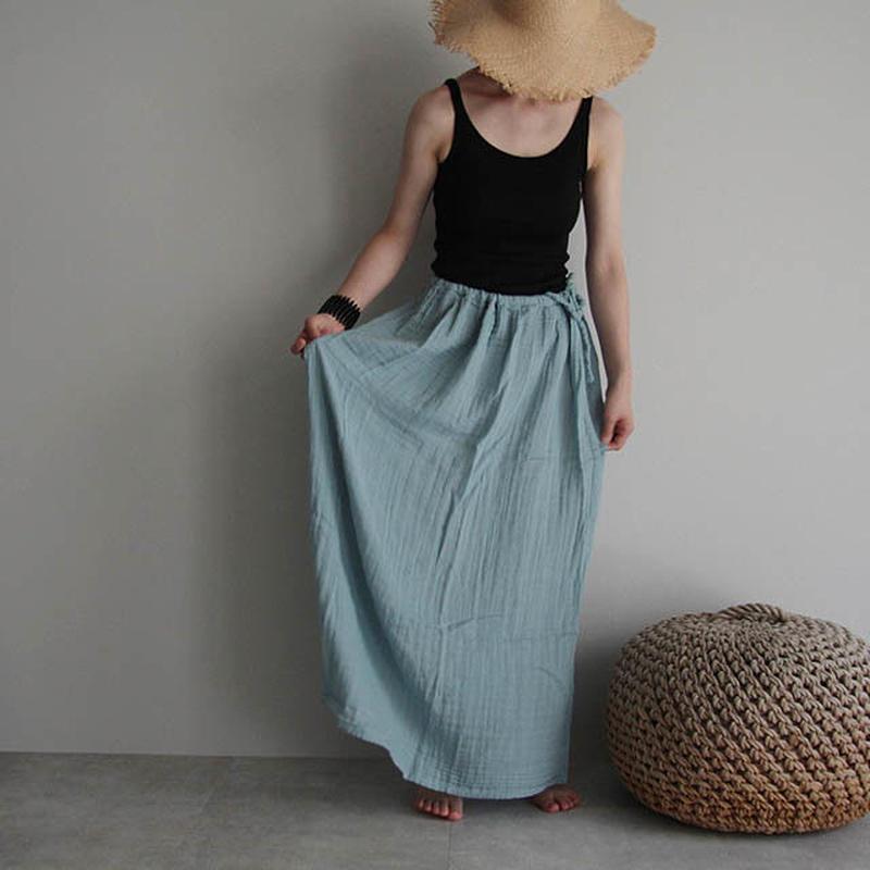 organic cotton long skirt  sax blue