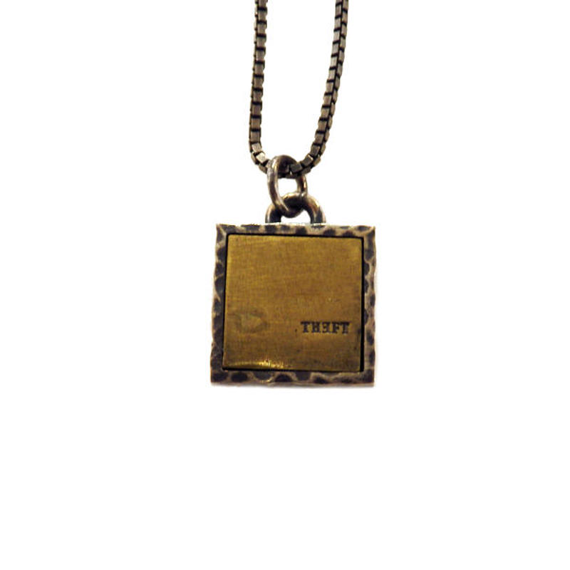 THEFT - silver×brass square Necklace top