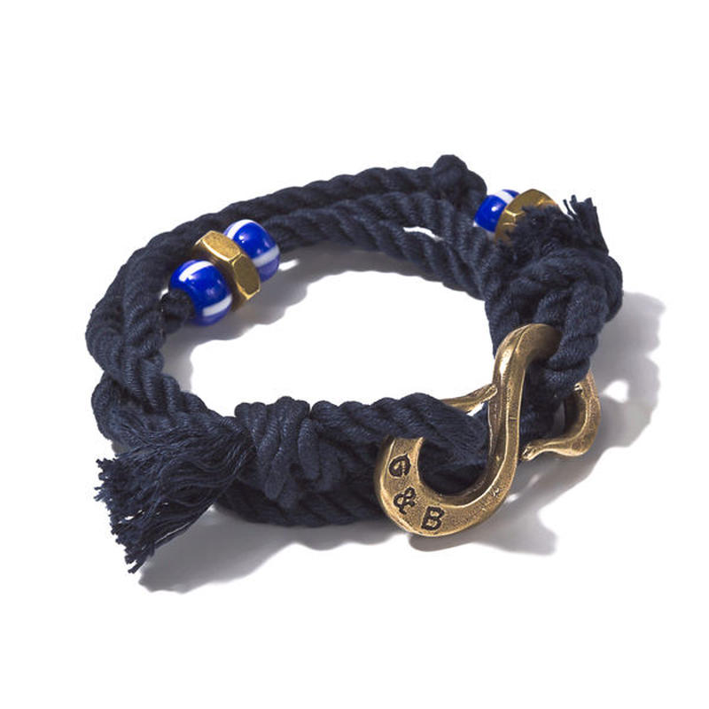 G&B -Wrap Rope S-Hook Bracelet Navy Brass