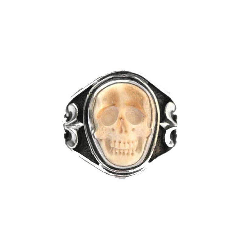 LEE DOWNEY - Sculpted Skull Ring - Mammoth Ivory