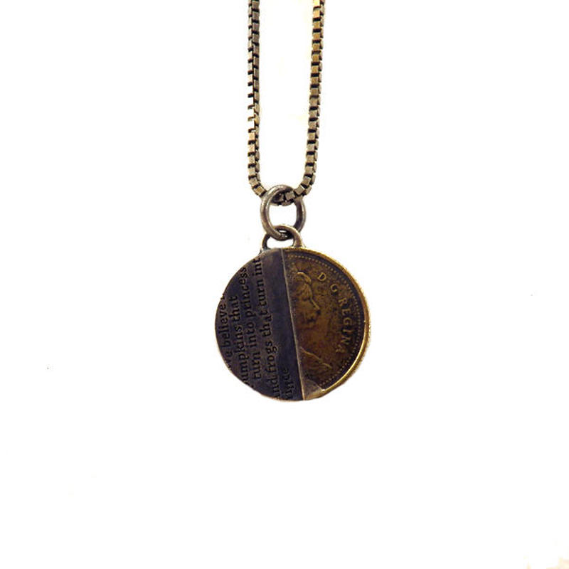 THEFT - silver×brass half coin Necklace top/s