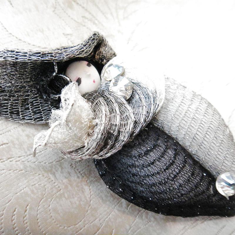 メタルメッシュリボン 《ブローチ 帽子》