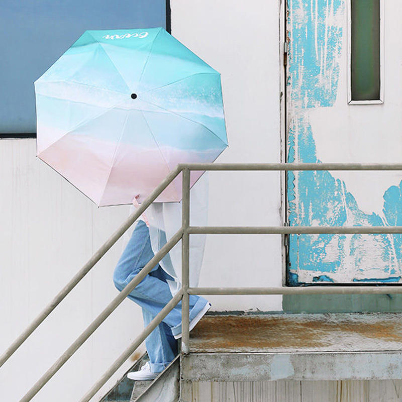 raingoods-02006 ocean ビーチ柄 折りたたみ傘 日傘 雨傘 晴雨兼用