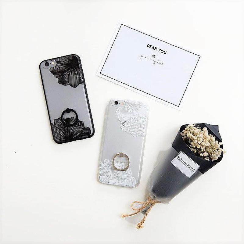 iphone-02271 送料無料! シンプルデザイン フラワー柄 バンカーリング付き  半透明 iPhoneケース
