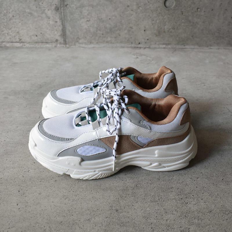 shoes-02052 ダッドスニーカー ベージュ×エメラルドグリーン
