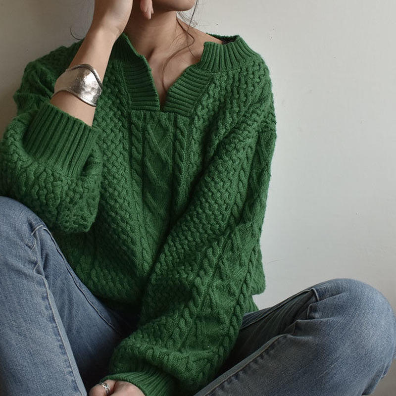 knit-02031 キーネック アランニットプルオーバー グリーン