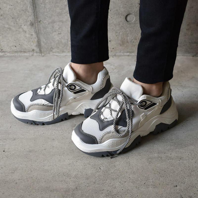 1月末頃発送分  予約販売 shoes-02053 ダッドスニーカー グレー×ホワイト