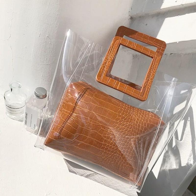 bag2-02340 スクエアハンドル PVC素材 クリアバッグ ポーチ付き