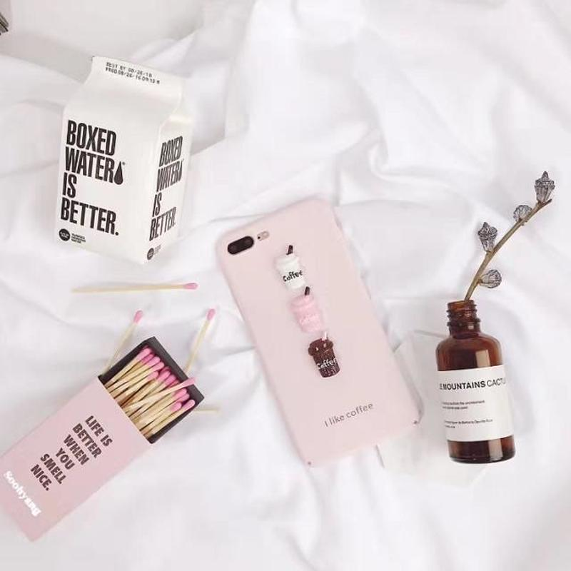 iphone-02345 パステルピンク coffee iPhoneケース