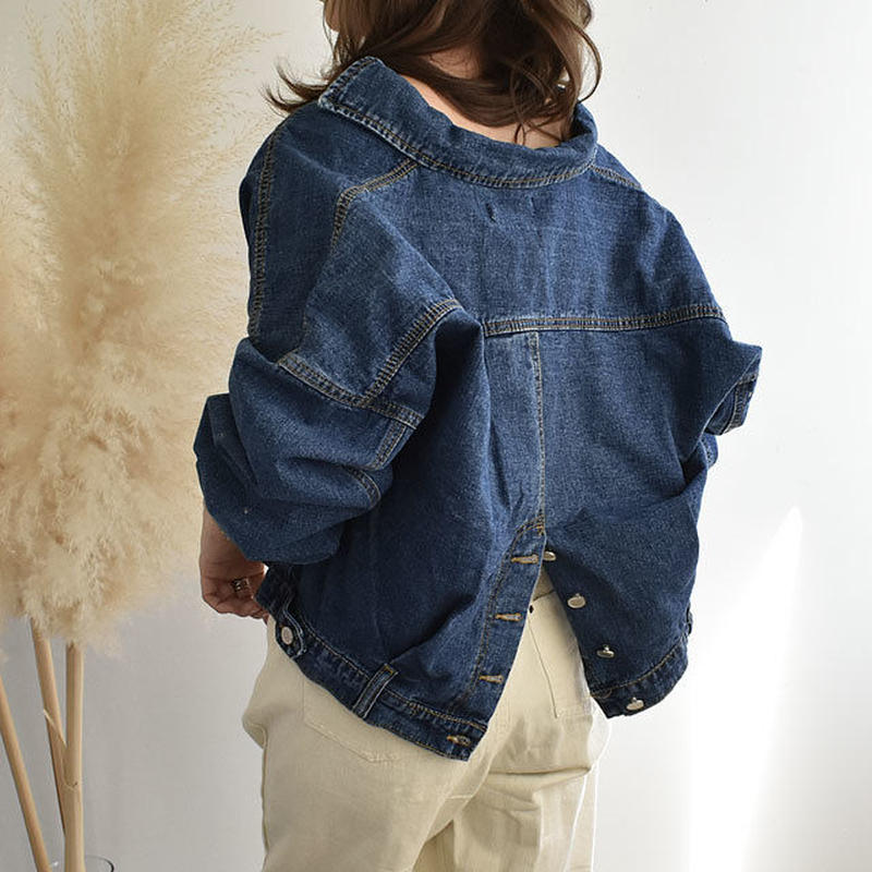 3月中旬~3月下旬入荷分 予約販売 バックスリットデザイン オーバーサイズ ショート丈 デニムジャケット