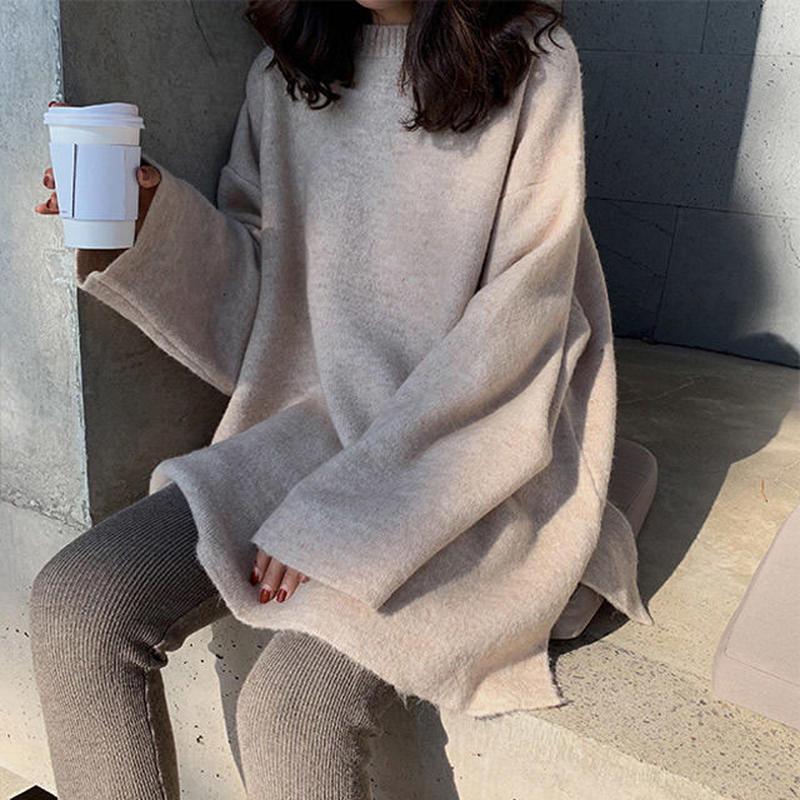 knit-02025 サイドスリット オーバーサイズニット ベージュ