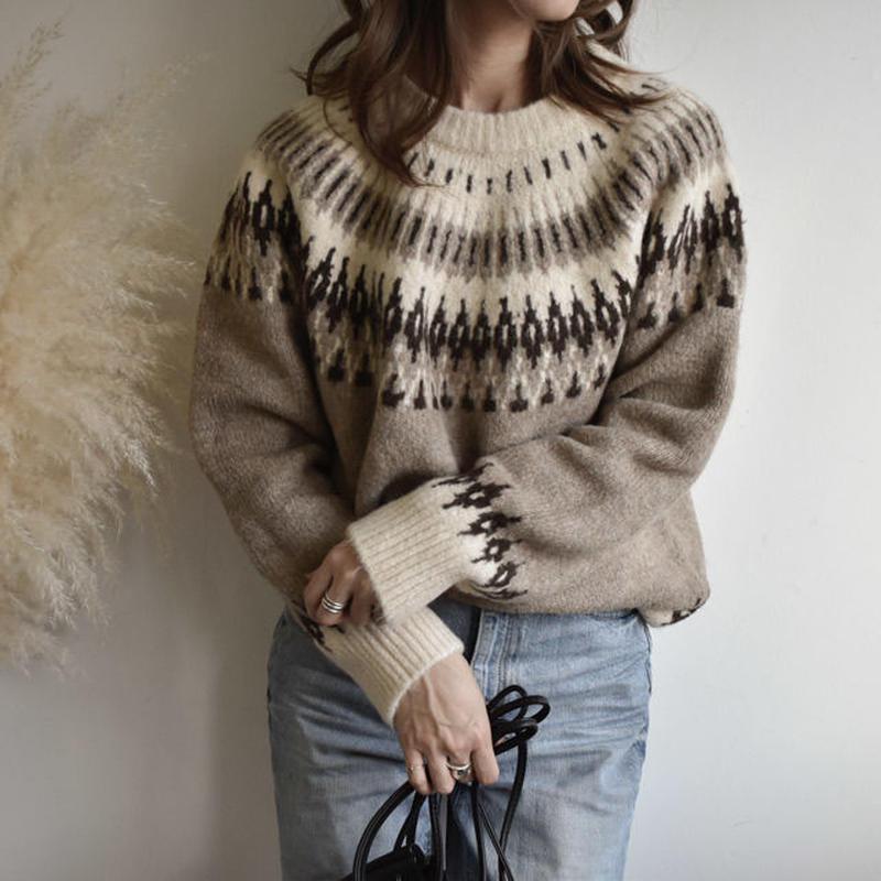 knit-02018 ウール ノルディックニット モカベージュ