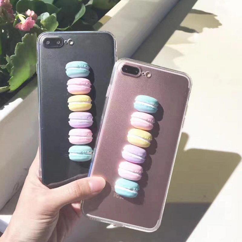 iphone-02343 マカロン カラフル クリア iPhoneケース