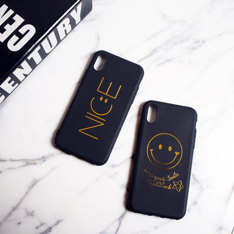 iphone-02397 送料無料! iPhoneX ブラック スマイル ニコちゃん NICE iPhoneケース