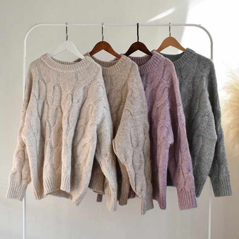 knit-02020 オーバーサイズ ウール混 クルーネックケーブルニットトップス ラベンダー ベージュ モカ ライトグレー