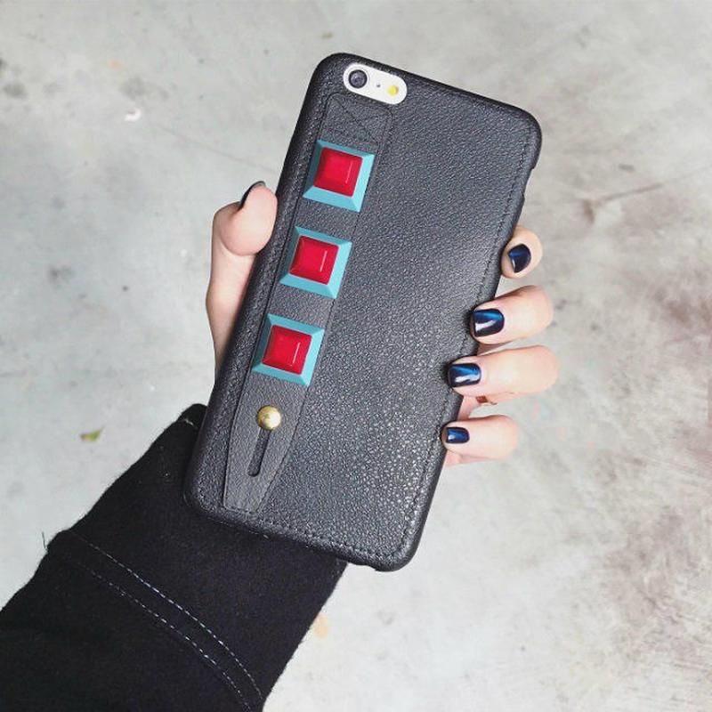 iphone-02291 送料無料! レザー風スタッズ付きベルト ブラック iPhoneケース