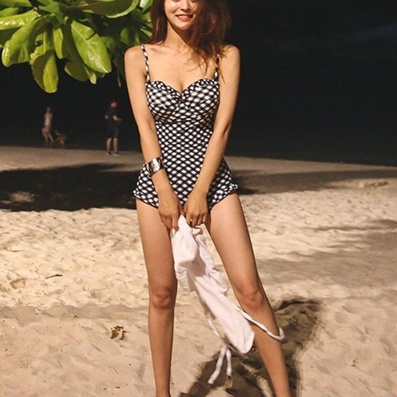 swim-02214  モノトーン ギンガムチェック ワンピース 水着 レディース カップ付き ブラック ホワイト