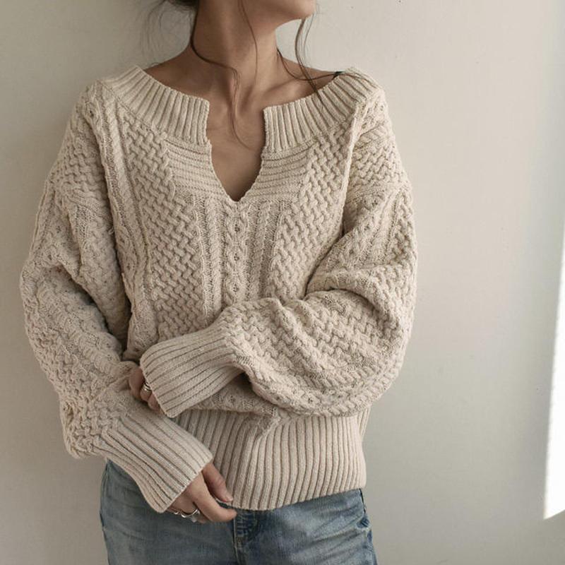 4月上旬~4月中旬入荷分 予約販売 knit-02022 キーネック アランニットプルオーバー エクリュ