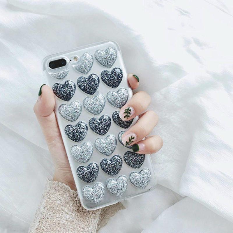 iphone-02375 送料無料! ラメ入り プチプチハート ブルー iPhoneケース