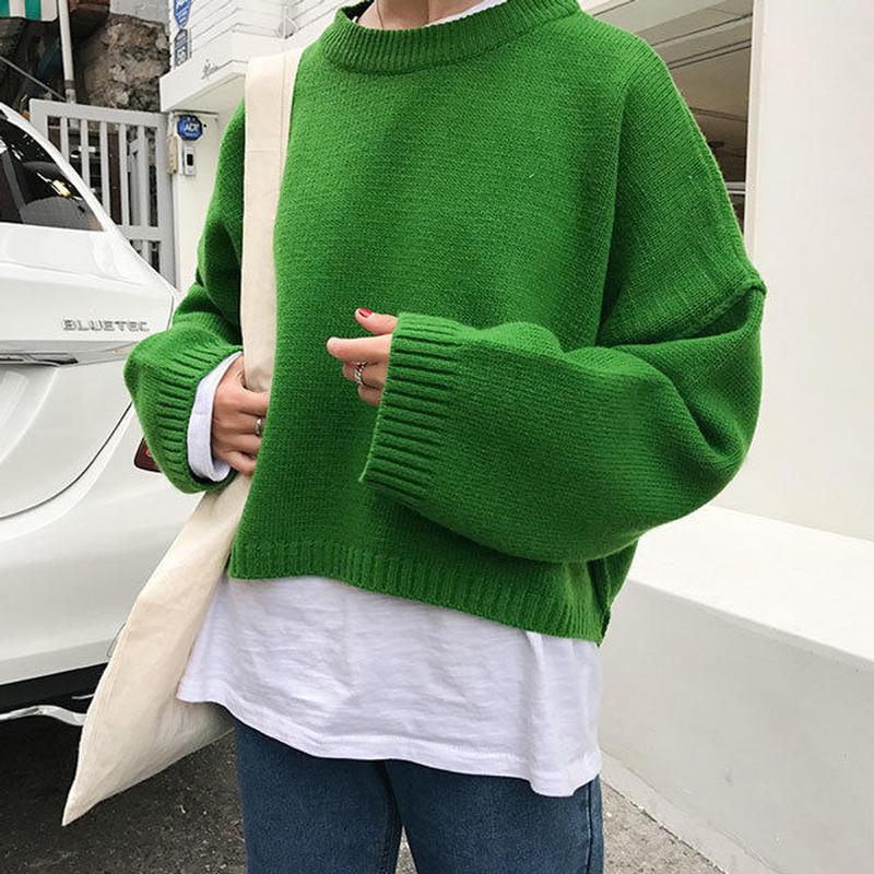 knit-02027 クルーネック ショート丈 カラーニット グレー ホワイト グリーン レッドオレンジ