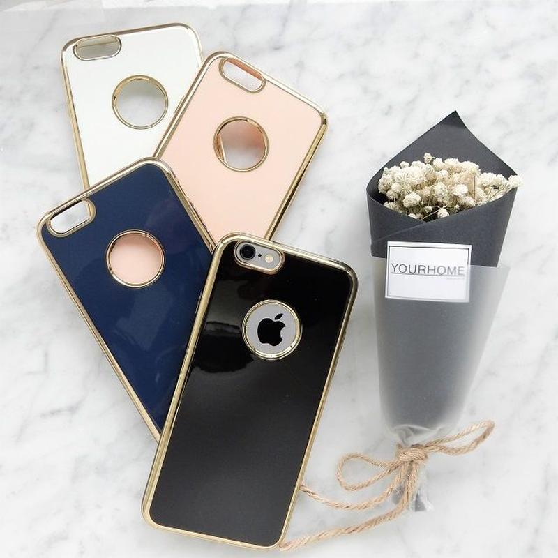 iphone-02297 送料無料! アップルマークが見える ゴールドフレーム シンプルデザイン iPhoneケース