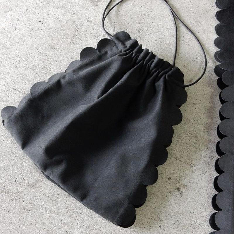 bag2-02217  送料無料! ブラック  フェイクスエード スカラップ巾着バッグ 日本製
