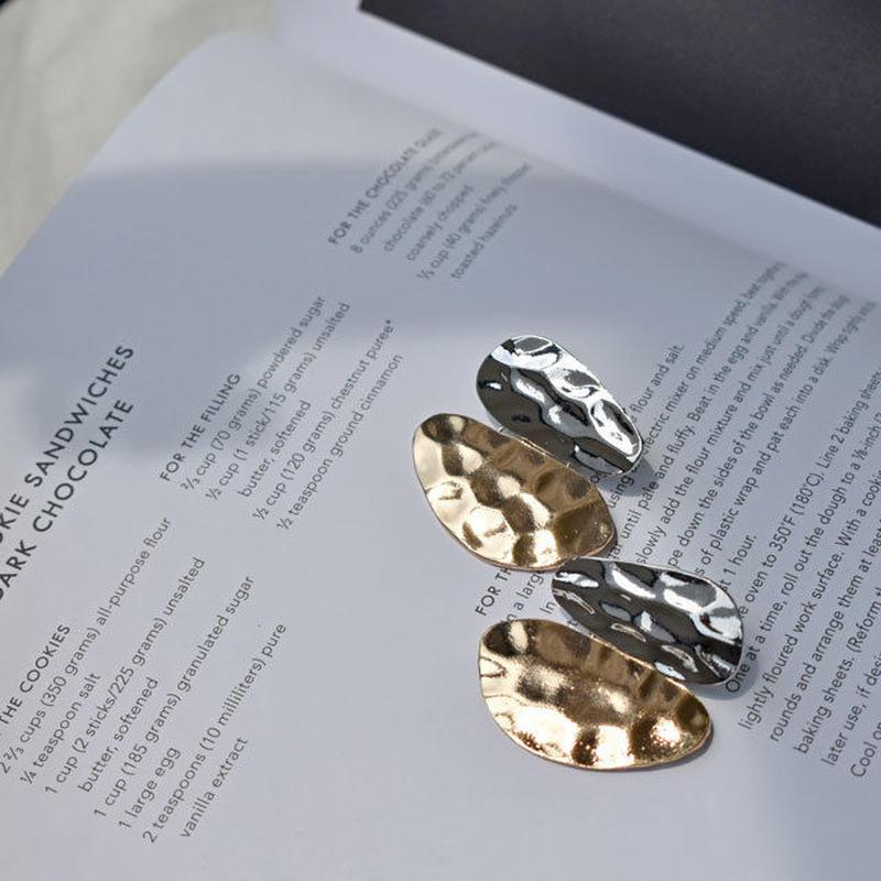 pierce2-02146 シルバー&ゴールドハンマードプレート スタッドピアス