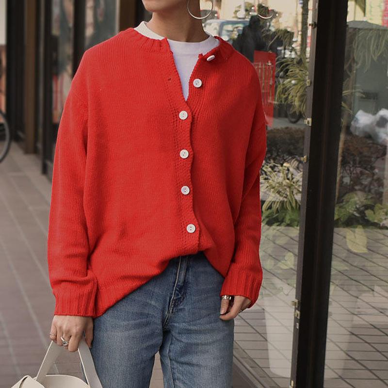 knit-02028 カラーニットカーディガン レッド グリーン ベージュ ネイビー