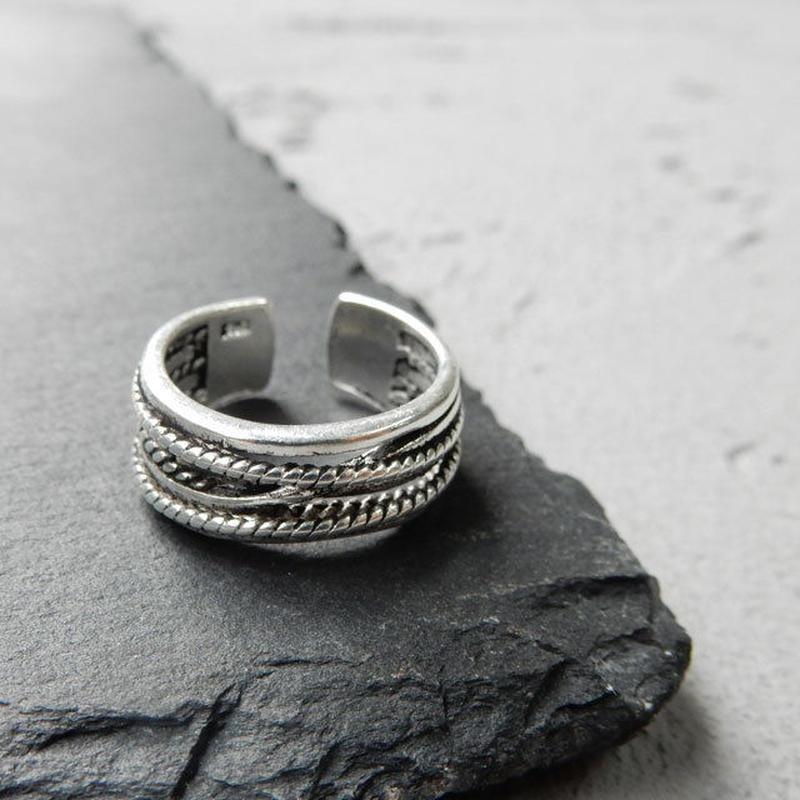ring-02114 送料無料! シルバー多重リング 指輪 14号から上にサイズ調整可能
