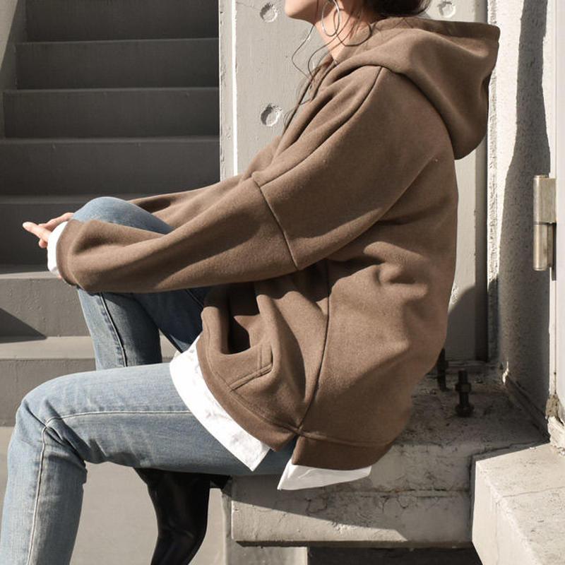 3月中旬~3月下旬入荷分 予約販売  tops-02013  裏起毛 サイドスリットレイヤードパーカ モカ  アプリコットブラウン