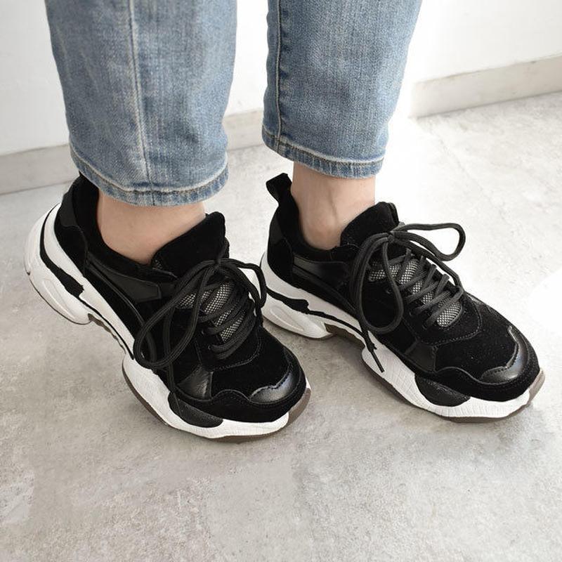 shoes-02055 ダッドスニーカー ブラック×ブラック×ホワイト