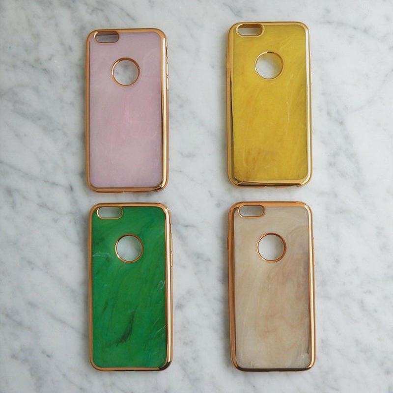iphone-02156 送料無料! ゴールドフレーム マーブル柄 天然石  大理石柄 iPhoneケース
