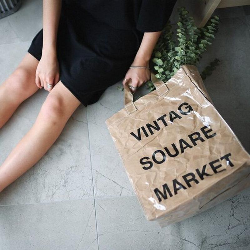 bag2-02186 紙袋ビニールトートバッグ VINTAGE SQUARE MARKET