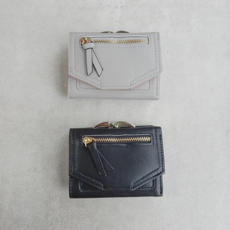 wallet-02038 がま口小銭入れ付 ミニ財布  三つ折り ミニウォレット