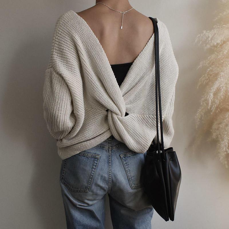 3月中旬~3月下旬入荷分 予約販売  knit-02015 バッククロスニット オフホワイト ライトグレー