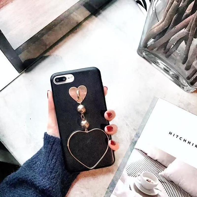 iphone-02329 ハート チェーン ブラック iPhoneケース