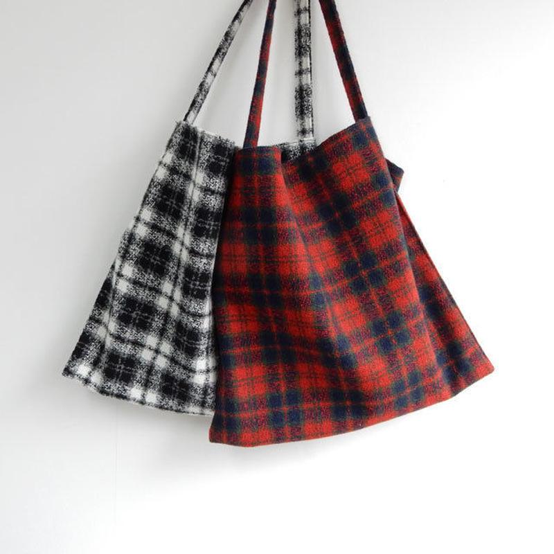 bag2-02268 送料無料! ツイードチェック柄 ファブリックトートバッグ