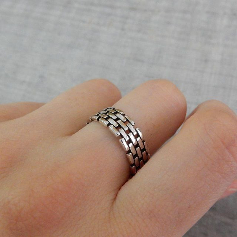 ring-02124 送料無料☆ シルバーブロックデザインリング 指輪 12号から上にサイズ調整可能