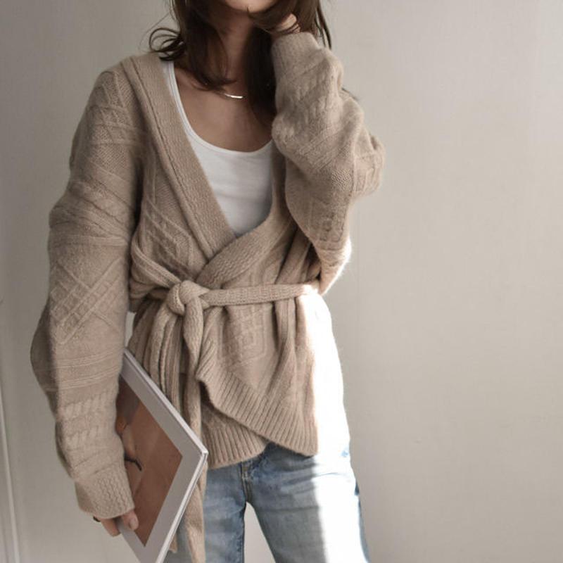 knit-02019 ウエストベルト付きケーブル柄 カーディガン ベージュ