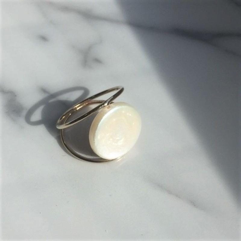 ring2-02003 送料無料! 淡水パール Disc型 オリジナルリング 12号 日本製 ハンドメイド ☆ WA04