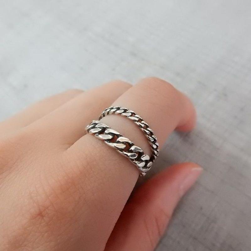 ring-02119 送料無料☆ シルバーチェーン2連風リング 指輪 12号から上にサイズ調整可能
