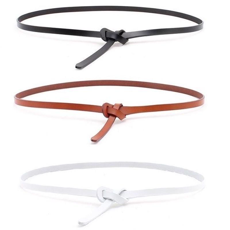 belt-02016 送料無料! 本革 細幅レザーベルト 結びベルト  ブラック キャメル ホワイト