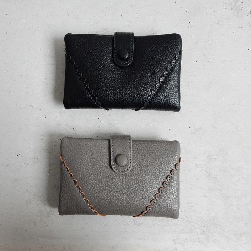 wallet-02029 スカラップデザイン ミニ財布 小銭入れ付き 二つ折り ミニウォレット